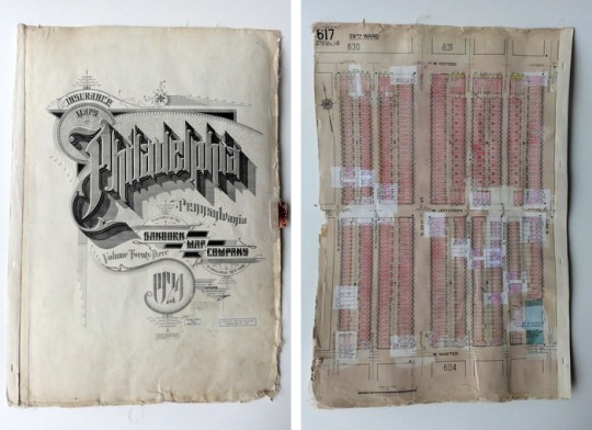 "Sanborn Maps are insurance maps that show a very detailed and layered history of cities.  The pastings represent periodic updates  of the maps.  Each 18""x26"" page is of a different section of the city and tells a story of how the neighborhood changed over time."