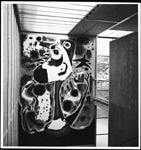 """""""Miro donated his mural to the Republic; it was accordingly split into its six component panels and packed for shipping back to the Ministry of Fine Arts in Valencia. What happened next remains unclear. It is thought possibly that the mural's poor condition--noted by Sert when it was packed-- lead the Ministry to destroy it upon its arrival in Spain. Sert himself believed that the mural most probably fell victim to an assault on the train… However, he also suggested, in a 1978 interview, that the mural might have been lost when stored int eh Spanish embassy in Paris. Whatever the case, one of Miro's most important paintings is now known through only a few black and white photographs. From """"A Rival To Gurnica? Image: Joan Miro, The Reaper, 1937. Oil paint on Celotex panels."""