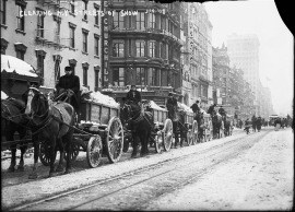 Sanitation Department clearing show, 1908. Photo courtesy DSNY.