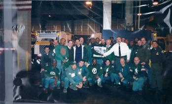 Thirty employees from the Emergency Response Division and from the Fresh Kills Landfill Unit were awarded Unit Citations for their involvement in the nation's largest cleanup and recovery effort in the wake of the World Trade Center tragedy. Photo from DSNY Family.