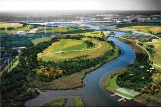 A rendering of the Fresh Kills Park project, currently underway on the site of New York City's former Staten Island landfill.