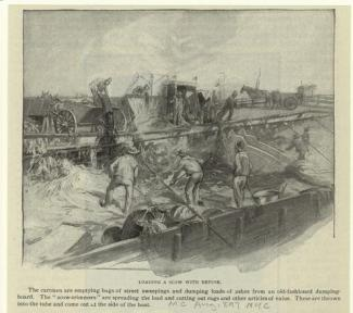 """""""Loading a Scow with Refuse."""" 1897."""