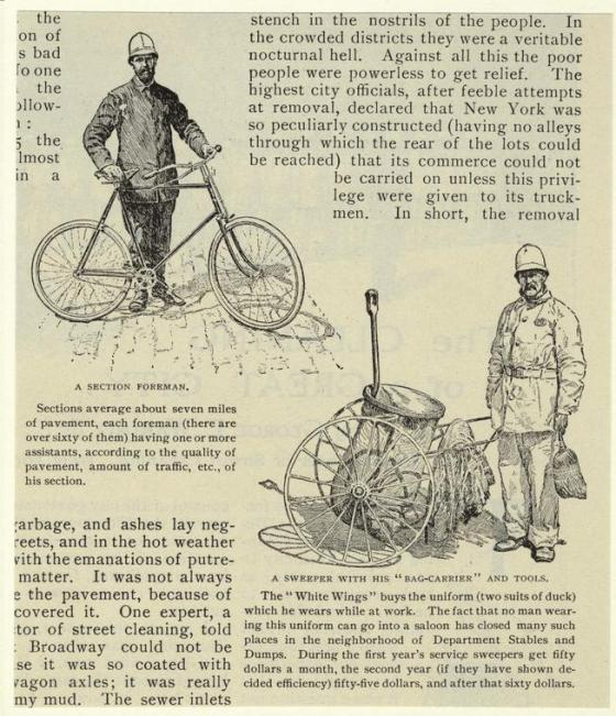 """A sweeper with his """"bag-carrier"""" and tools. (1897). From McClure's magazine. NYPL"""