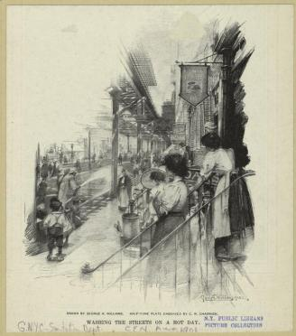 Washing the streets on a hot day. 1900. Artist: George Williams