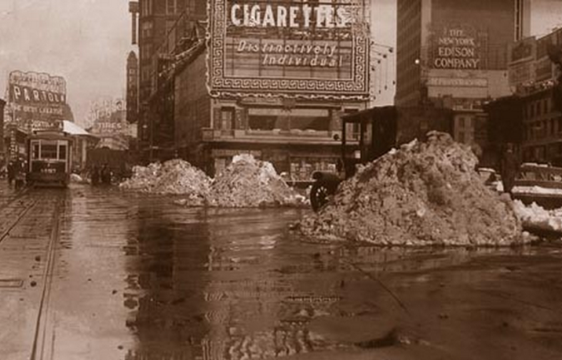 Times Square with snow piles - 1918. From DSNY.
