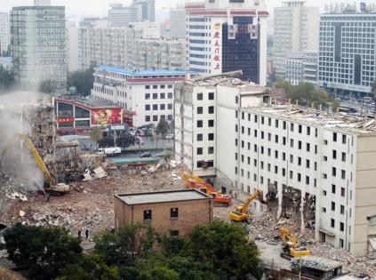 The demolition of Hademen Hotel, Oct 2009. Photo by Shih-yang Kao.