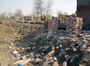 Piles of shaved bricks in Red Army Camp. March 2010. Photo by Shih-yang Kao.