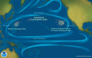 Marine debris accumulation locations in the North Pacific Ocean. NOAA, Wikimedia Commons.