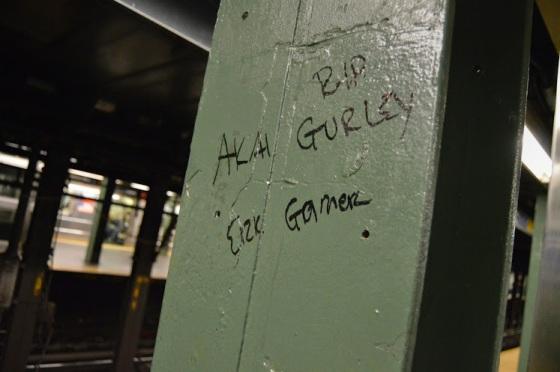 Graffiti in NYC subway in honor of Akai Gurley & Eric Garner. Photo by Lauren Giaccone  (CC BY 2.0)