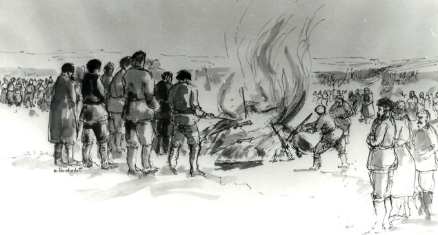 Historic Doukhobor 1895 Arms burning sketch by William Perehudoff, artist from Saskatoon, Saskatchewan, Canada.