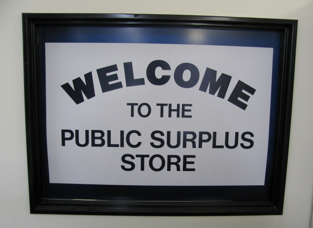 Sign at the UConn Public Surplus Store.