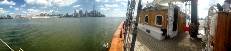 5 Gyres SEA Change expedition approaches New York City. Photo by Max Liboiron.