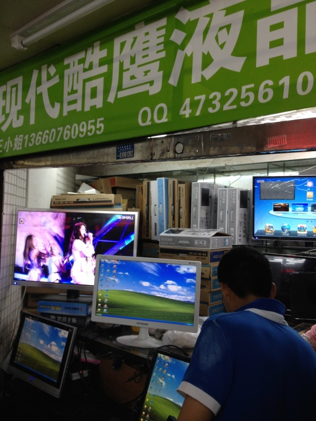 Monitors made with refurbished flat-panel displays. Guangzhou, China 2014. Photo credit: Yvan Schulz, 2014.