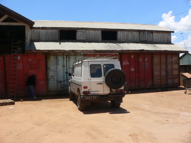 "Figure 2. The SALFA storage facility on the outskirts of Antananarivo, composed of decommissioned shipping containers and known to Minneapolis volunteers as ""container city."" Photo by the author."