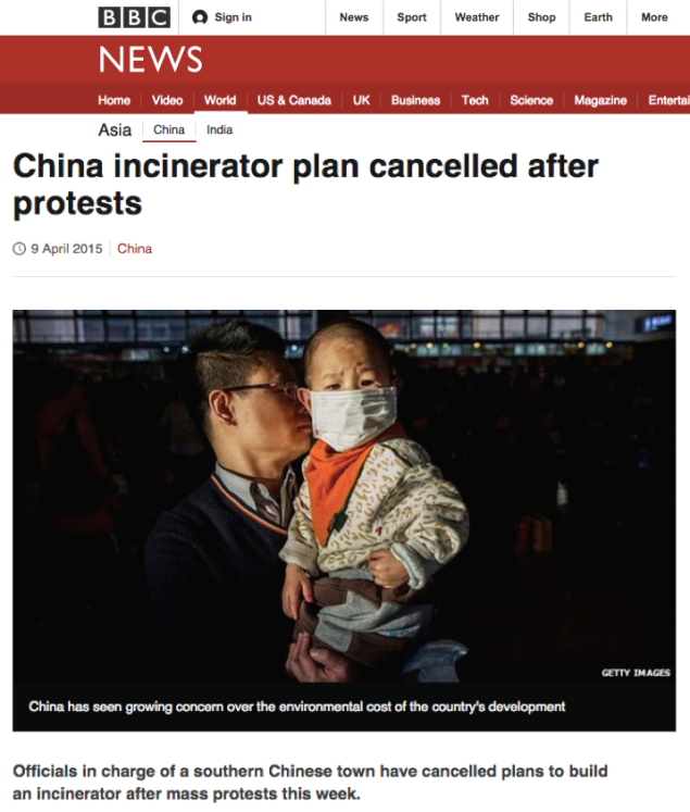 BBC News article about local protests against incinerators in China from April 2015.