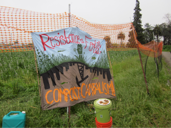 "Sign at ""Occupy the Farm"" in Albany, CA. Photo courtesy of the author."